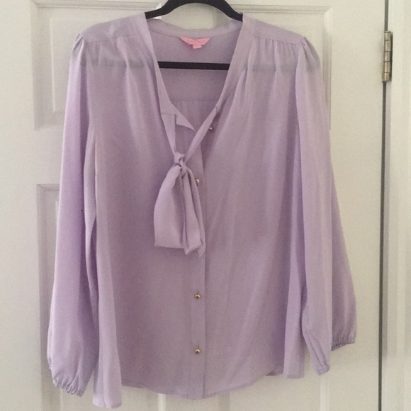 Lilly Pulitzer Tops - Lilly Pulitzer Lavender Silk Top Pussy Bow size L